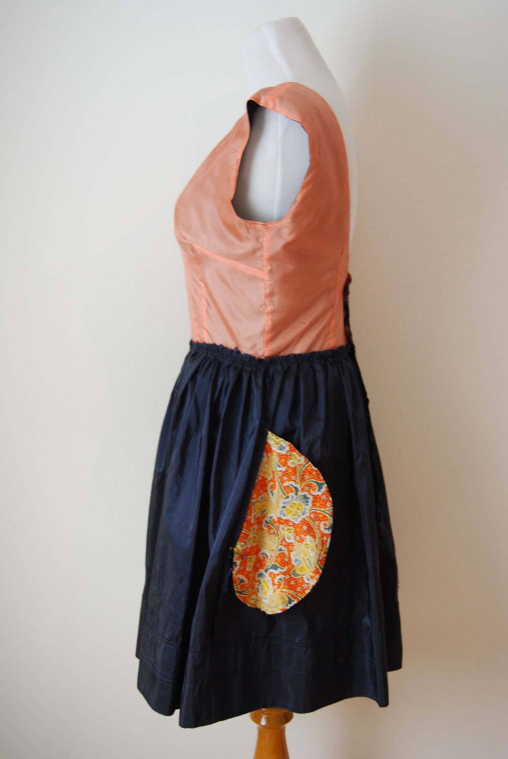 Navy Blue Silk Taffeta Pockets