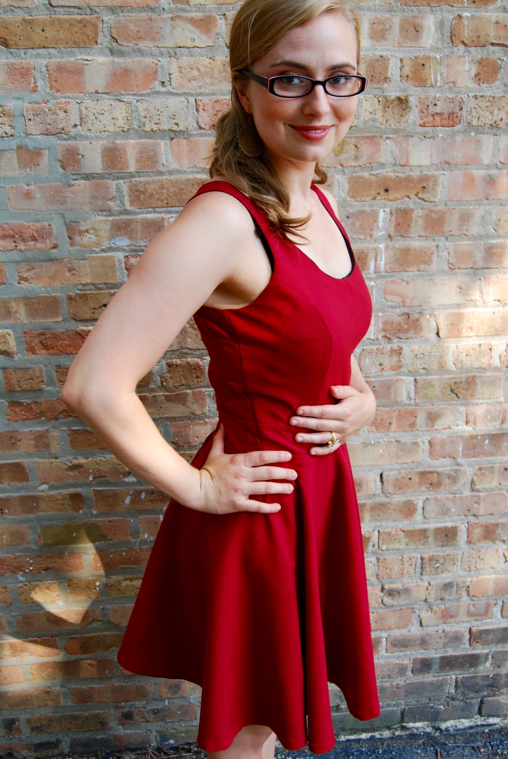 Red Upcycled Pattern Runway Dress