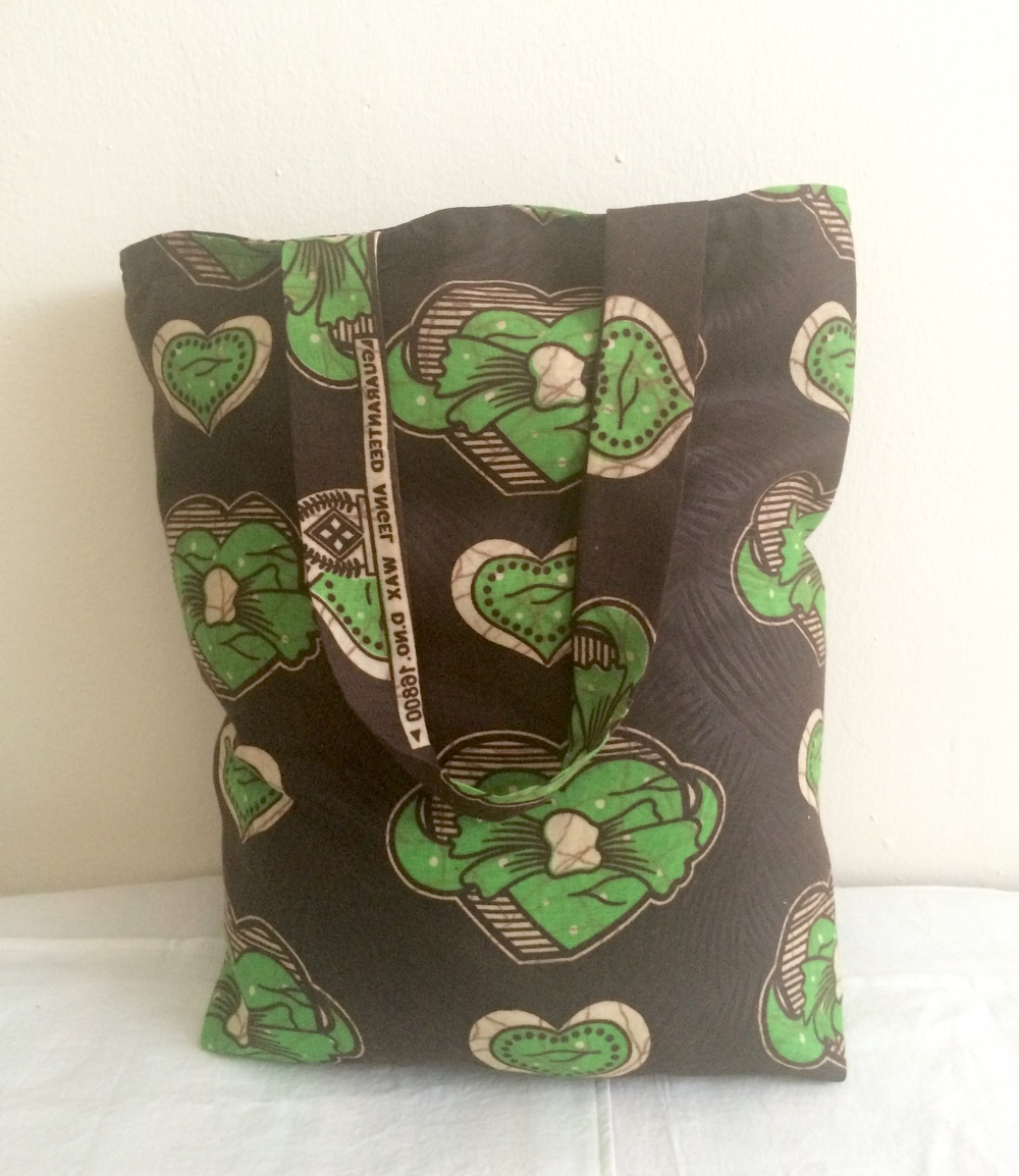 Brown Batik Green Heart Wax Print Tote Bag