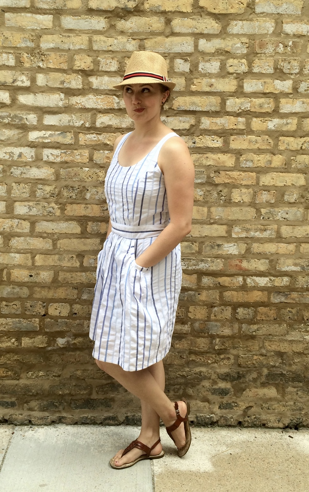 White Blue Stripe Pattern Runway Sundress