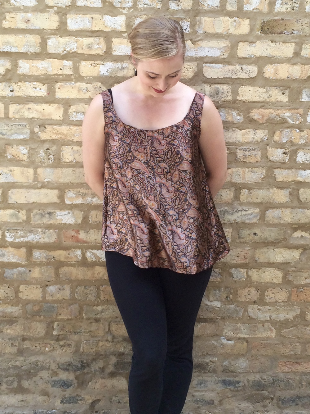 Brown Paisley Indian Silk Top