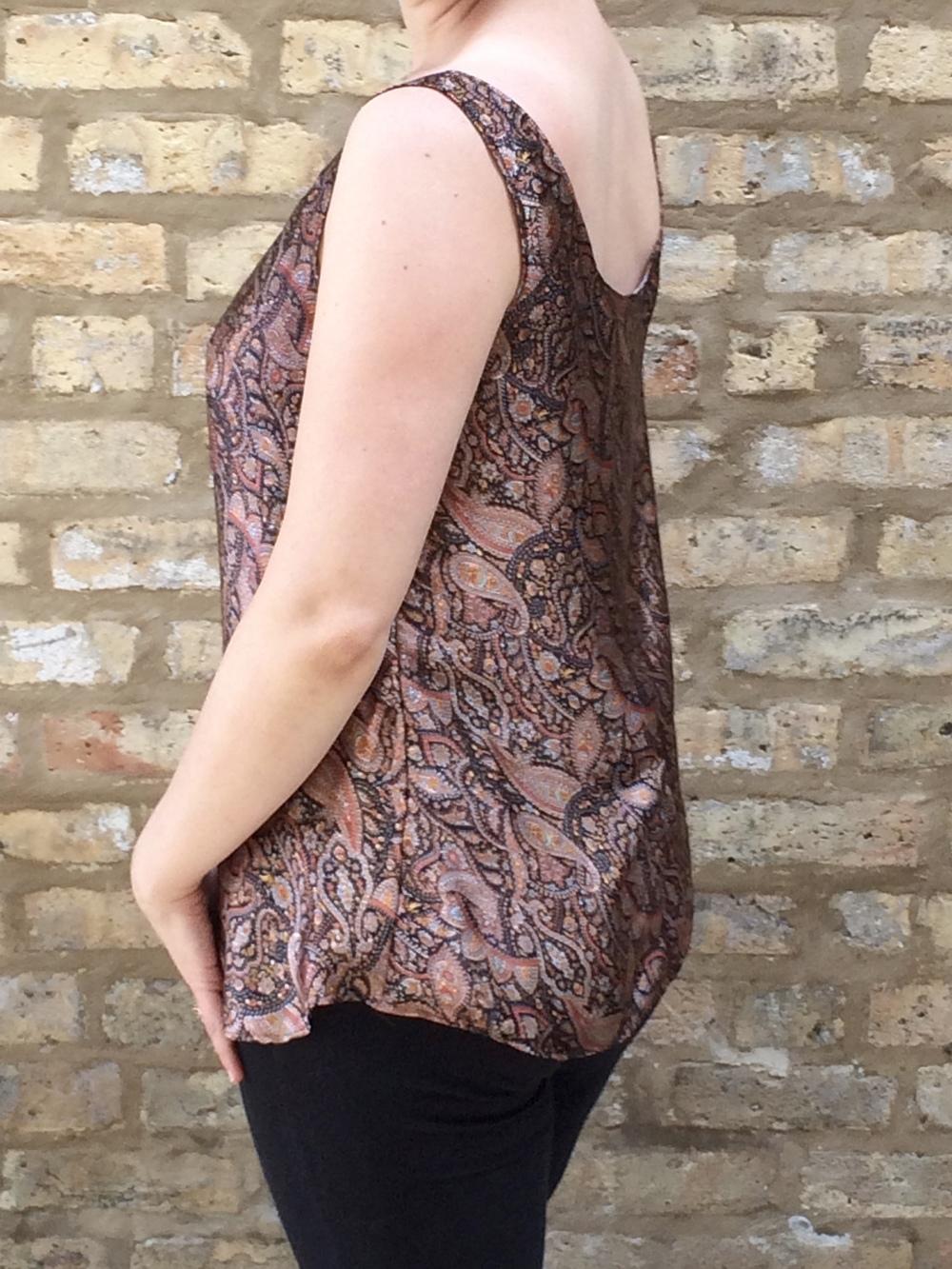 Brown Indian Silk Paisley Top