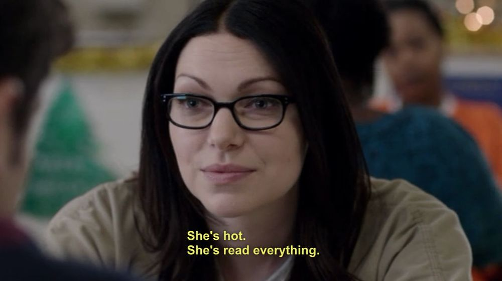 booksofoitnb: ok, I know Alex Vause is the shit, and everyone knows it - but Piper is hot too, for these exact reasons. Well-read = Sexy. As. Hell.  Wrote about this pretty-darn-perfect website for the L.A. Times over here. Also mentioned Rory Gilmore and Autostraddle because the bookish are the best.