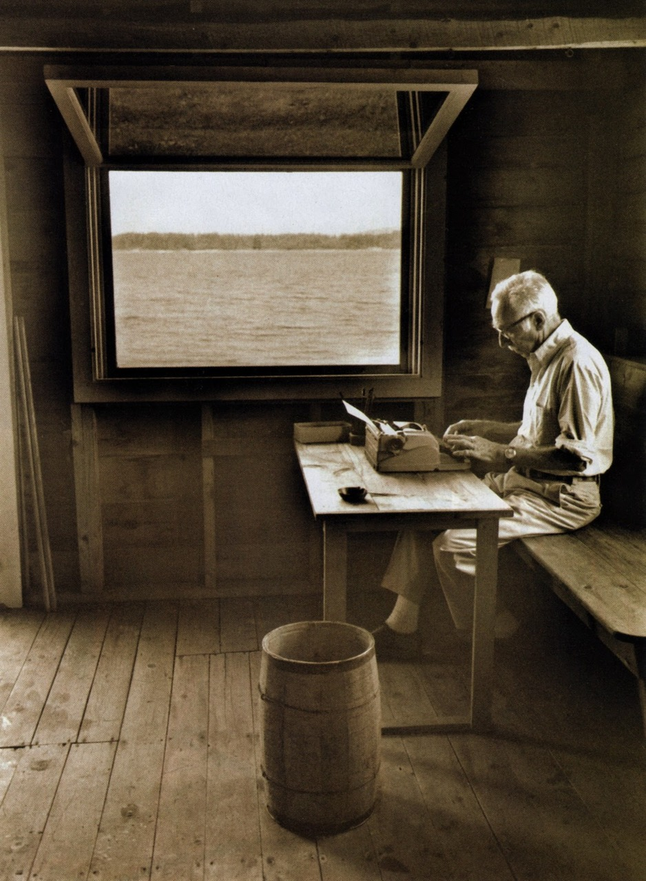 andrewromano: E.B. White in his boathouse in Allen Cove, Maine. Sentence for sentence, word for word, perhaps the most elegant American essayist of the 20th century.If I could write like anyone, it would be him.Recommended reading. H/t Workspaces. I want this for my own. Please, next year, let this happen at some point.
