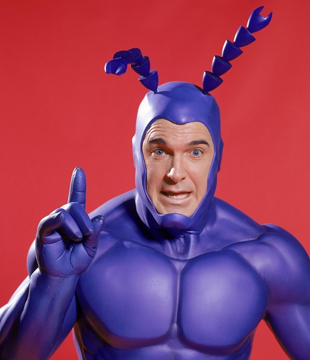 """The live action version of The Tick is now on Hulu. Patrick Warburton's greatest performance ever. Comic gold. It may be my favorite superhero story, and I swear it's etched onto my DNA - watching it, I realized that a giant project I was working on was very much Tick-inspired. Rushmore and Gilmore Girls, too. But they were all subconscious inspirations and that's what made it spooky. Internet research reveals some things: Colleen Atwood, Academy Award winning costume designer, made this iteration of The Tick's costume. Ben Edlund calls the show """"a superheroic portrait of genuine human lameness,"""" which is funny. (He works on Supernatural now, I guess?) After listening to Fresh Air's replay of a 2002 interview with Tom Waits, I'm pretty convinced he is The Tick. But that is a whole other post. He at least talks in Tickisms."""