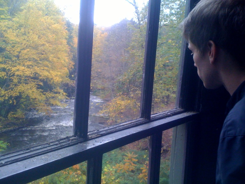 "olivehearts: It had a real nice view. Reminded of the Bowerbirds' tumblr - thanks to the fact that this week's Parenthood ended with a heartwarming family pickup basketball game set to their awfully romantic song ""Northern Lights"" - I checked it out for the first time in months. Awesomely enough, there were pictures of them at The Lady Killigrew/Montague Book Mill, one of the most magical places in existence, when they played in Northampton in October. (A show that I had to miss - at the peak of the fall leaf season - since I was down in NYC.) It's hard to quantify the magic of this photo, but I'll take a stab at it - mostly, my best friend and I would listen to the Bowerbirds' albums (both of them, gold!) while taking in the windy, pastoral, lovely drive to The Lady Killigrew, so this photo is basically two Meaningful Things in my life meeting. I love it! Also, I am on a mission to get everyone in the world to travel to this particular old mill-turned coffeehouse/used bookstore/purveyor of goodness, so, if you're in Western Massachusetts, go there! It's wonderful."
