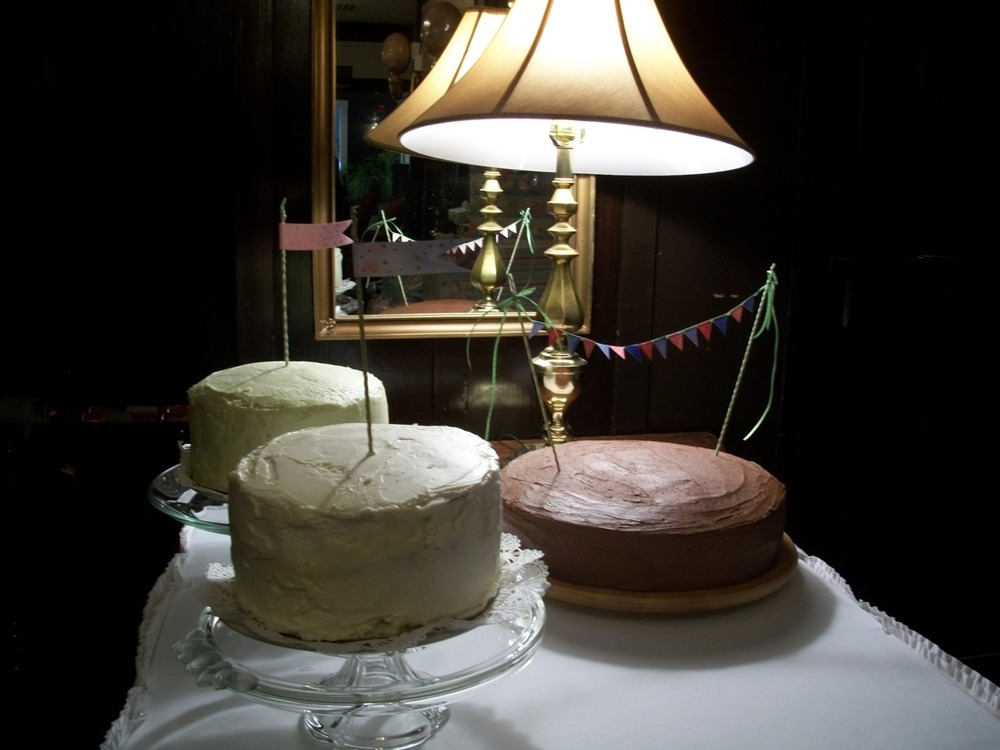 I worked on the two three-layer cakes. The better one had eight scraped-out vanilla pod husks and green tea frosting. They were, rumor has it, delicious.