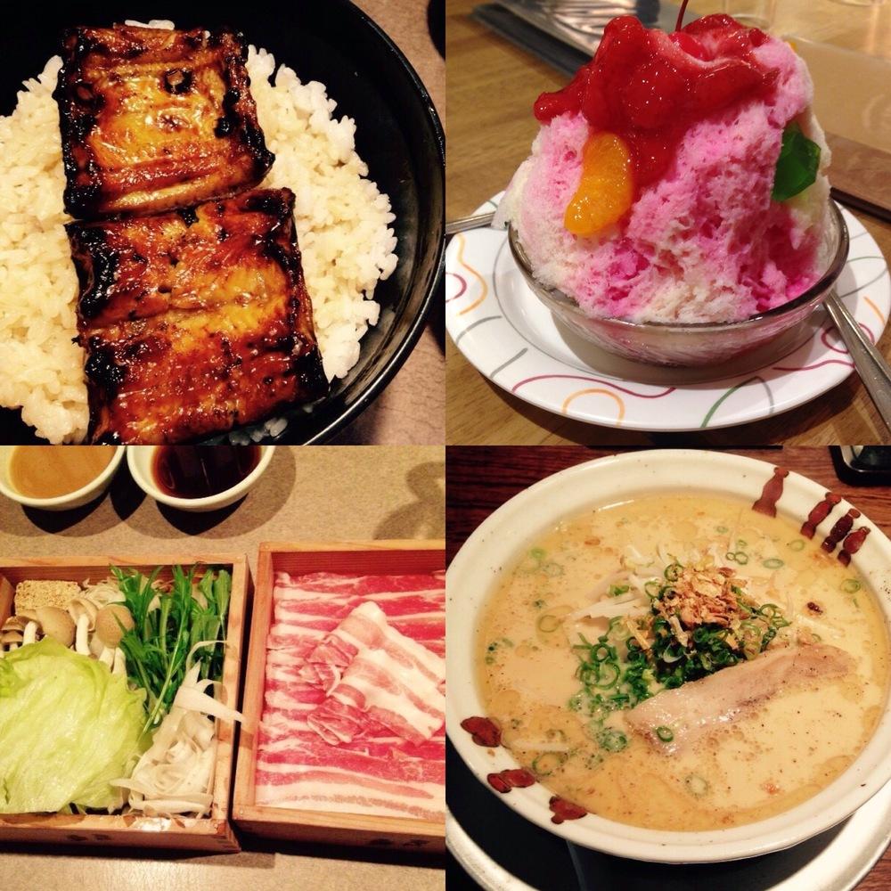 Unagi, shirokuma, shabu shabu, ramen