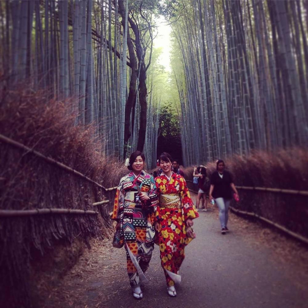 Wearing yukatas at the bamboo grove