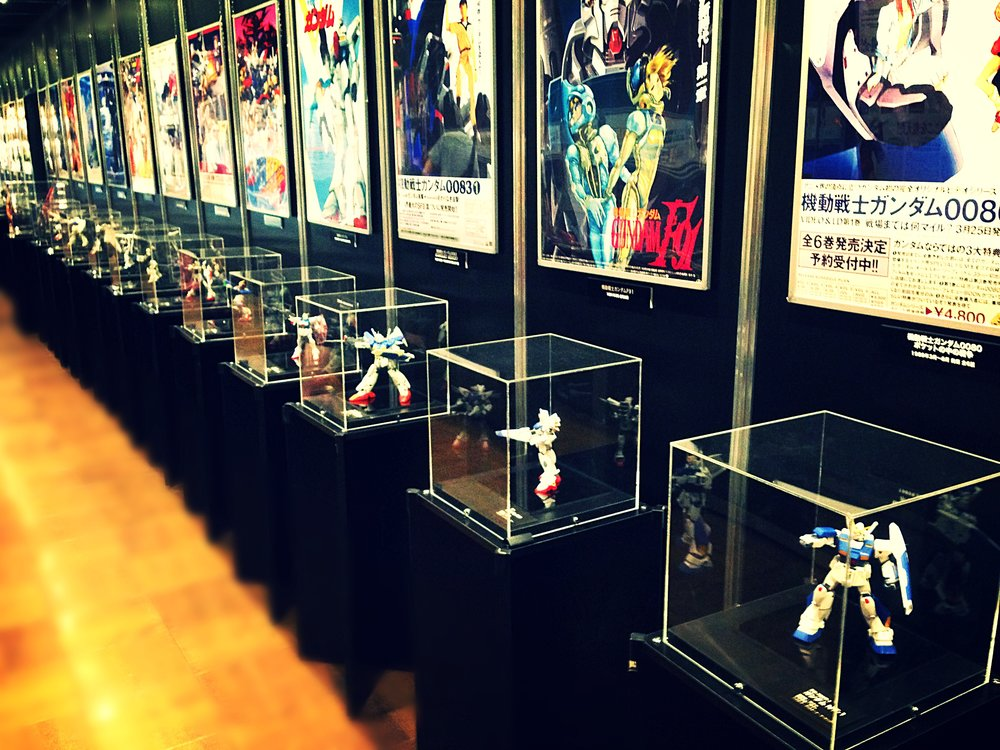 Gundam models on display