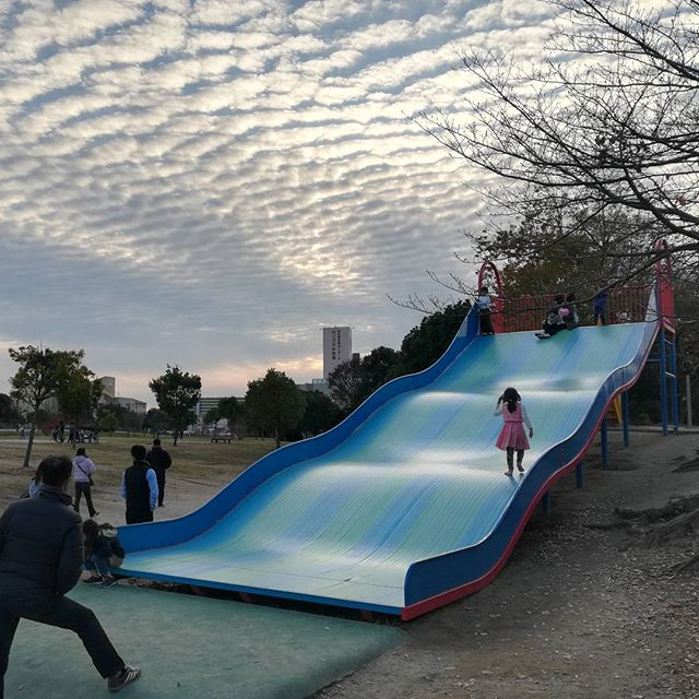 A pretty impressive slide at our local park... the clouds aren't bad either! ☁️👏 #localpark #getoutsideandplay #bestslide #cloudlover