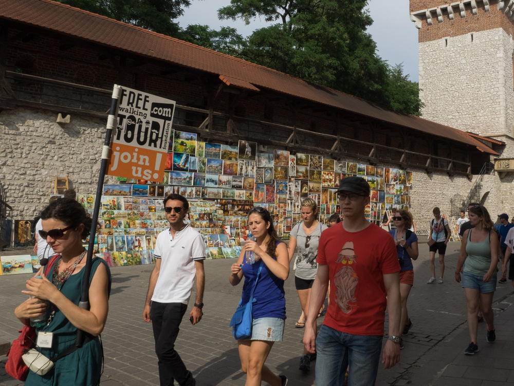 Free walking tours are a common sight around the old town.