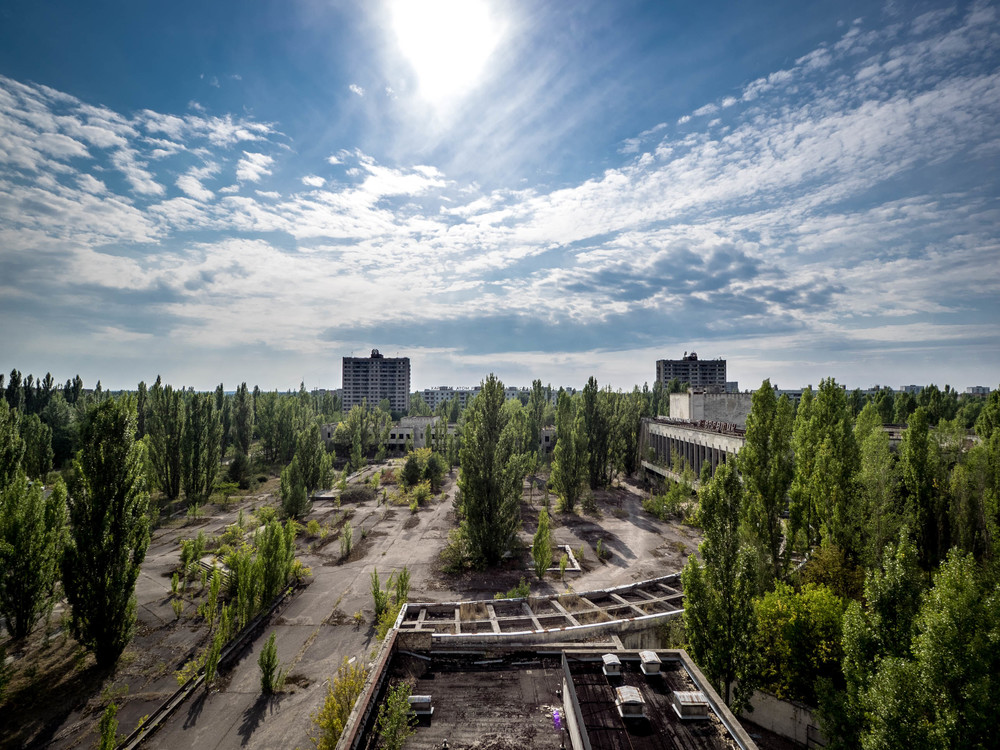 The view of Pripyat from the top of the hotel