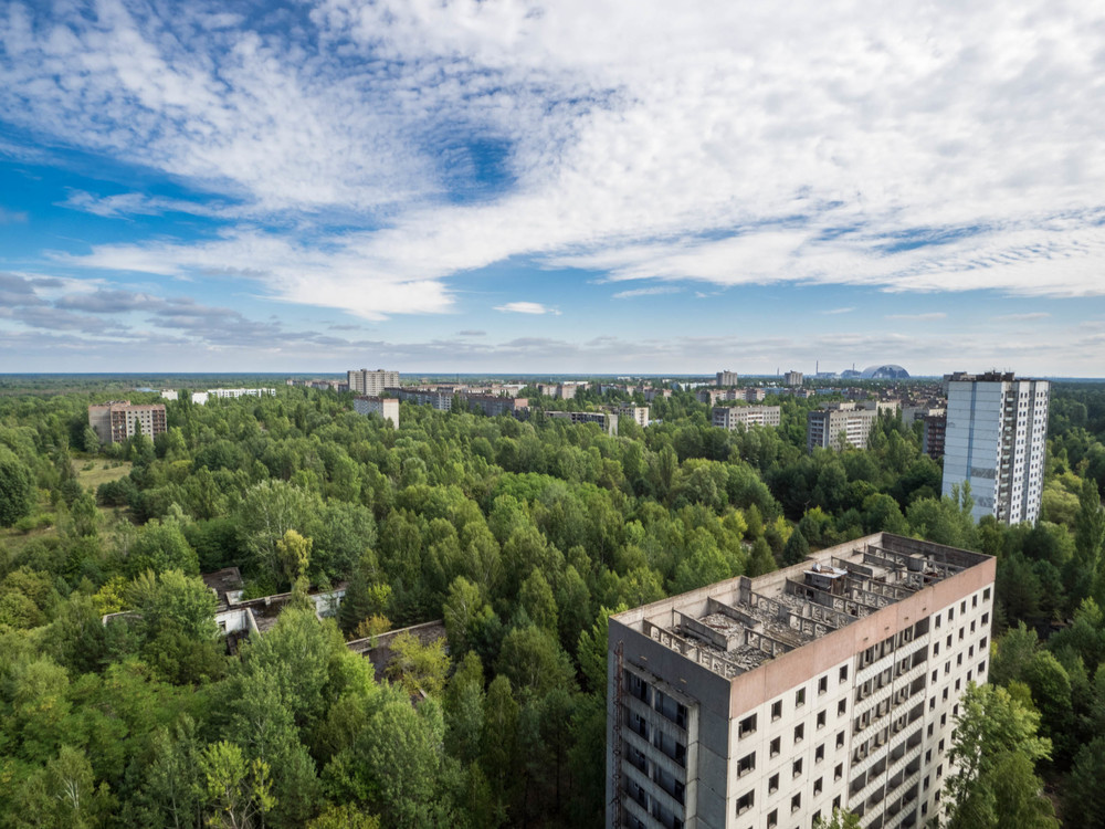The view of Pripyat from the roof of the tallest building.