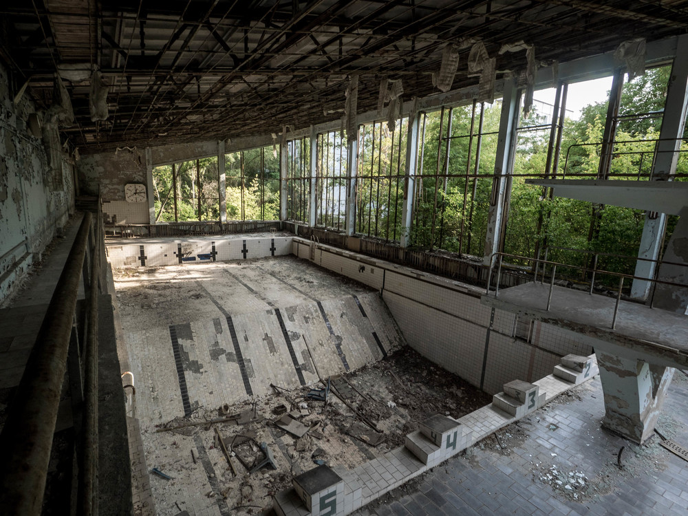 The swimming pool in Pripyat, Cherenobyl exclusion zone. Tours run regularly from Kiev.