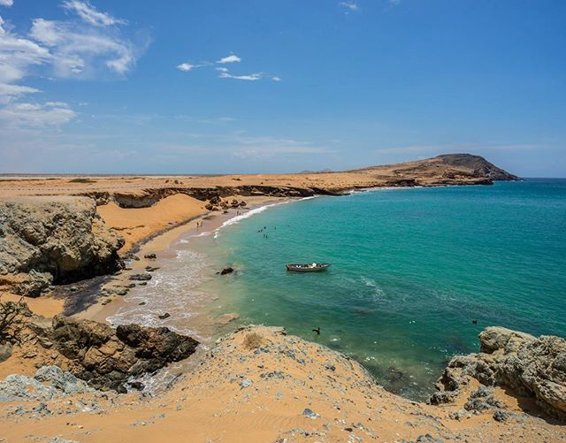 The incredible region of La Guajira in northern Colombia. La Guajira is the northernmost tip of South America and one of the few places in the world where a desert meets an ocean. #laguajira #colombia #desert #ocean #beach #wanderlust #travel #traveller #southamerica #sand #sky #ocean @laguajira