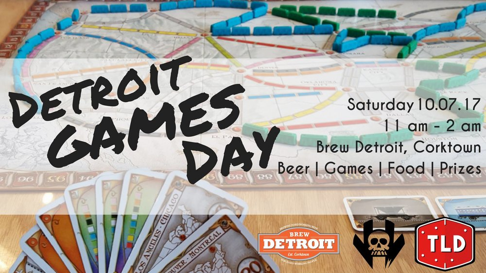 Join The Loaded Die, Vault of Midnight Detroit, Hero Or Villain Van and Brew Detroit as they team up for a 15 hour day of board games on Saturday, October 7th! From 11am - 2am there will be open, and organized, board gaming inside Brew Detroit's two story taproom! Board Game Gurus will be in-house to help you learn how to play different games that will be on location (to be announced soon).  Hero or Villian Food Truck will be parked out front serving up delicious food all night.  TIcket Includes: -Entry into Detroit Games Day -Swag Bag of goodies -Tickets for the raffle with over $1,000 in prizes -Hero or Villian meal -Brew Detroit Craft Pint (must be 21+) Ticket Prices: -Early Bird ($26) -After 8/13 ($28) Tickets can be purchased below or in person at The Loaded Die or Vault of Midnight Detroit.