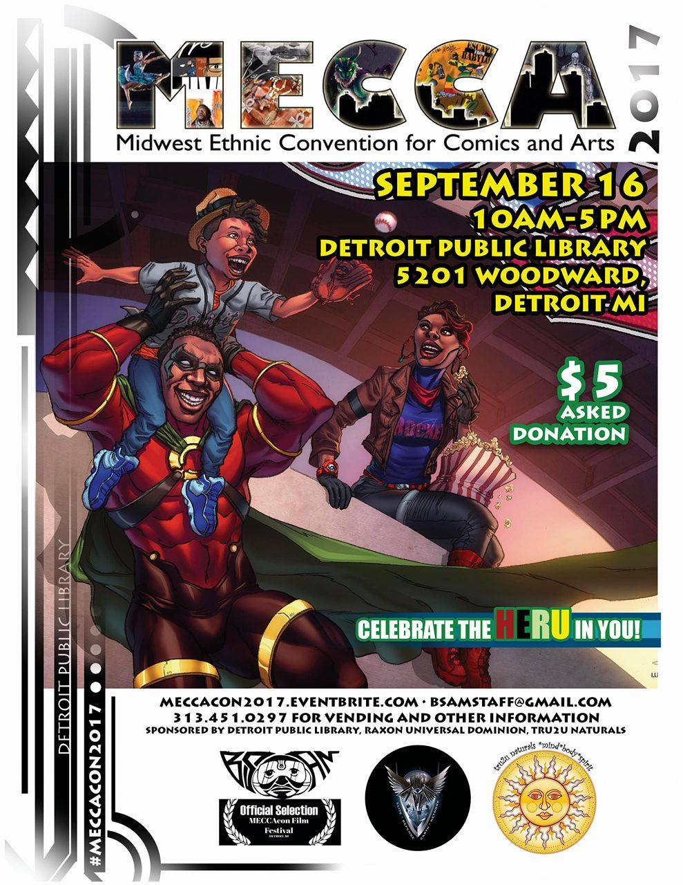 The Midwest Ethnic Convention for Comics and Art, or MECCAcon, is an annual convention which features young comic and film creators from diverse backgrounds presenting work based on their diverse experiences. The primary mission of MECCAcon is to connect with younger artists and show them that not all heroes look the same, in fact, some look just like them! MECCAcon will highlight comics, international/independent film, afrofuturism, science fiction, steampunk, fine art, music, graffiti, dj artists, handmade artisans, african belly dance, urban gardening, fashion, african martial arts, and more! On Friday September 15th, one day prior to the main convention happening at the Detroit Public Library, stop in at Vault of Midnight in Detroit for an exclusive signing with some of the most prominent comic creators from MECCAcon, including: 4:00 pm: Miguel Blanco and Javier Cruz Minnick 5:00 pm: Jahani Kwatre and Keithan Jones 6:00 pm: N. Steven Harris and Will Focus Do not miss out on the unique experience of meeting these amazing young talents working on some of the most cutting edge comics today!