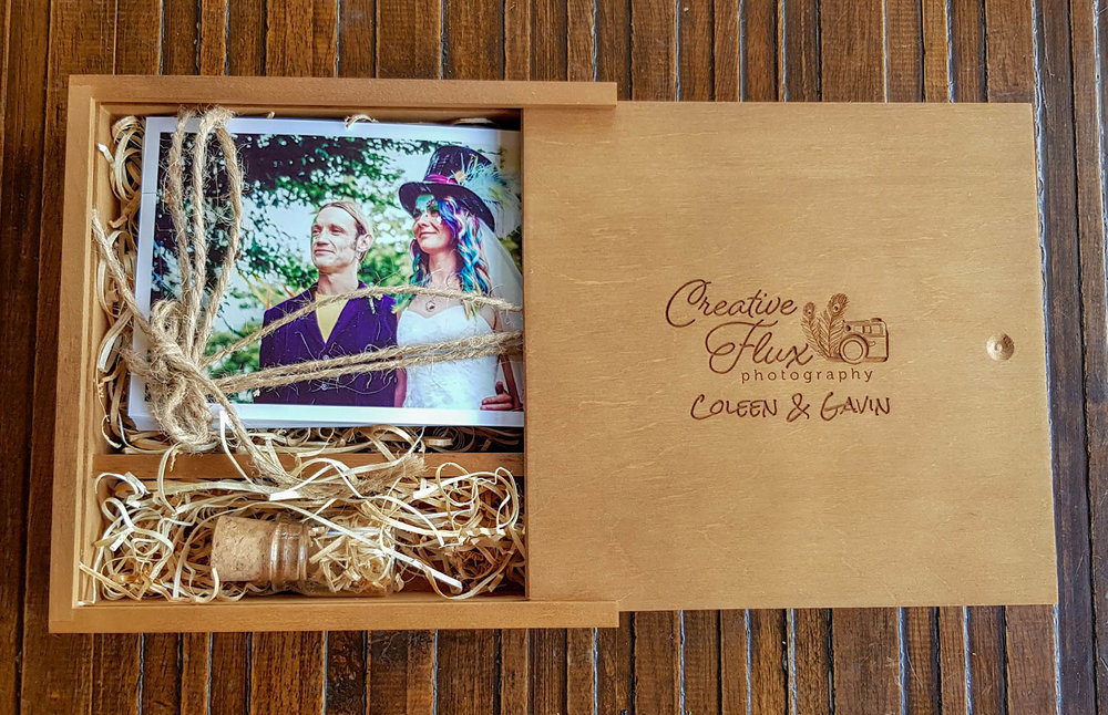 USB Package & Prints - Get a gorgeous dark pine customised box, glass bottle usb & 30 small prints for an extra £100.