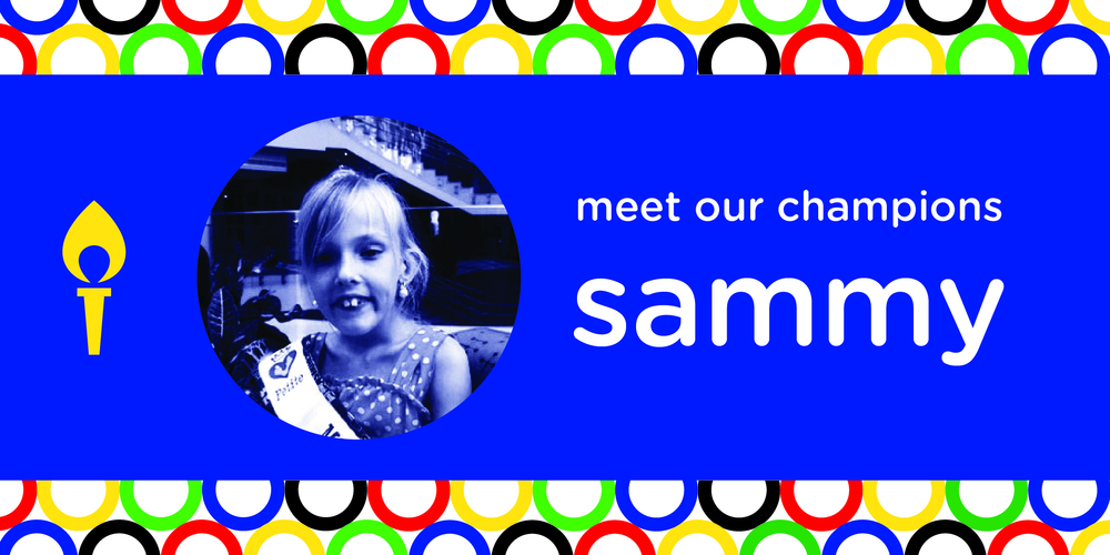 MEET SAMMY! SAMMY IS ONE OF THE BIGGEST SWEETHEARTS EVER! HER STRENGTH AND OPTIMISM HAS HELPED HER OVERCOME MANY ADVERSITIES. IN 2008 SHE WAS DIAGNOSED WITH DI'GEORGE SYNDROME. THIS SYNDROME IS CAUSED BY A LARGE DELETION OF CHROMOSOME 22. THIS RESULTS IN A LARGE AMOUNT OF GENETIC MATERIAL LOST. THE GENE LOST IN DI'GEORGE SYNDROME CAN LEAD TO CARDIAC PROBLEMS AND SPEECH IMPAIRMENTS. WHILE THIS DISEASE HAS AFFECTED SAMMY'S LIFE IN MANY ASPECTS, SHE STILL MANAGES TO MAKE THE MOST OUT OF HER LIFE. SHE LOVES PLAYING FOOTBALL, COLORING, AND PLAYING WITH ANIMALS!