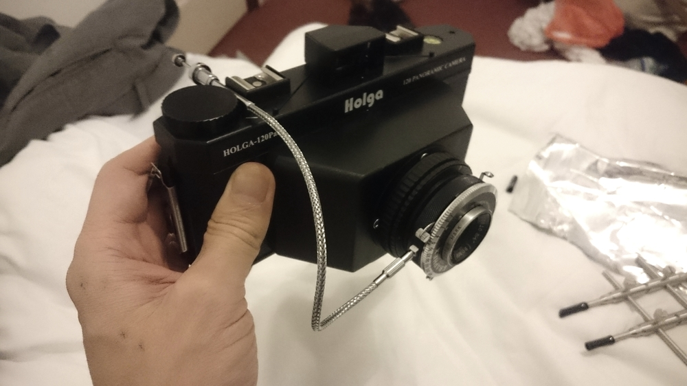 Finished camera with release cable.