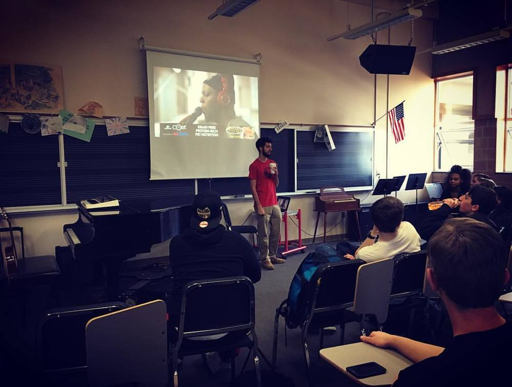 Michael Vadala visits Rush Henrietta High School in Rochester, NY as a guest speaker during MVT's Northeastern Tour.