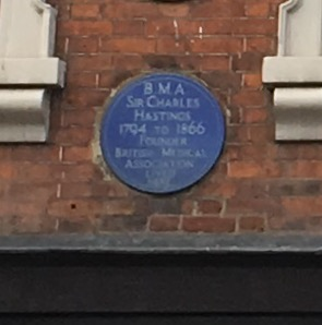 Blue plaque at 43 Foregate Street, Worcester