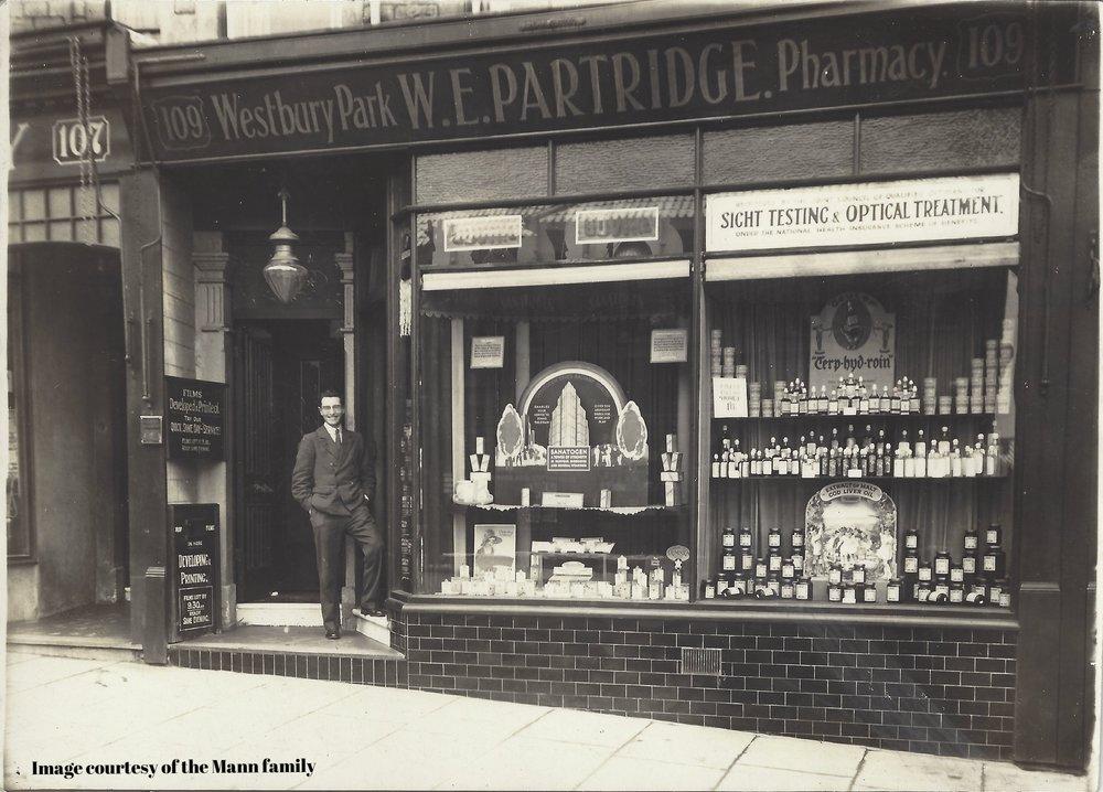 Alan standing outside Westbury Park Chemist, London (see indenture).jpg