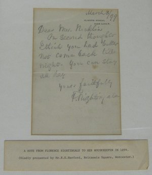 Florence Nightingale's Letter, 1899