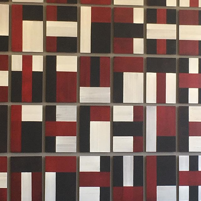 Unknown artist. But they have filled a wall with their geometric composition @darbyshireframemakers good to be having an ArtPlatform afternoon and getting part of collection framed for private client.