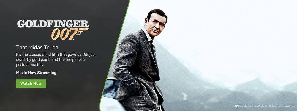 Content Launch: masthead, social, and push notifications for the launch of the James Bond collection on Hulu.