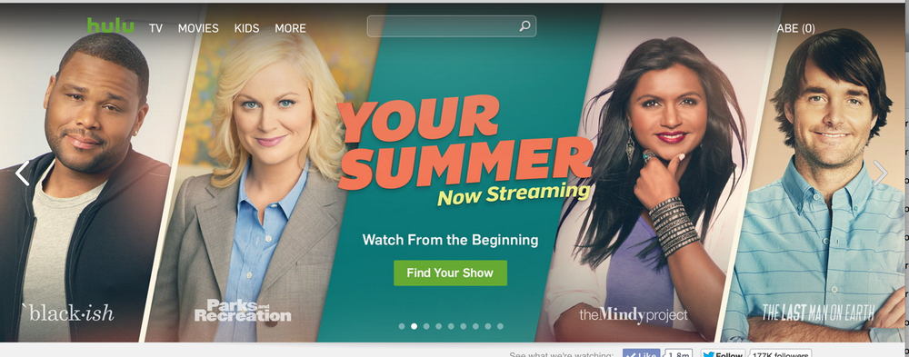 Hulu Brand Marketing Summer Campaign - multi-platform campaign highlighting the best content for summer streaming, including emails, mastheads, curated viewing lists, social content and push notifications.