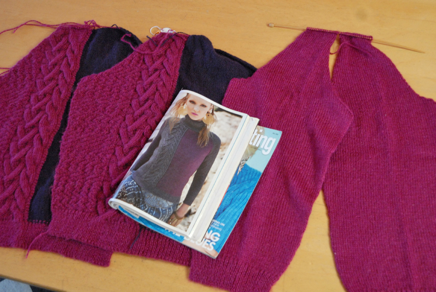 Pink & Purple Sweater Progress - All the pieces done!
