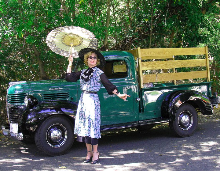 Designer Theresa LaQuey at Gatsby Summer Afternoon wearing a Vintage gown of her creation using vintage fabric.