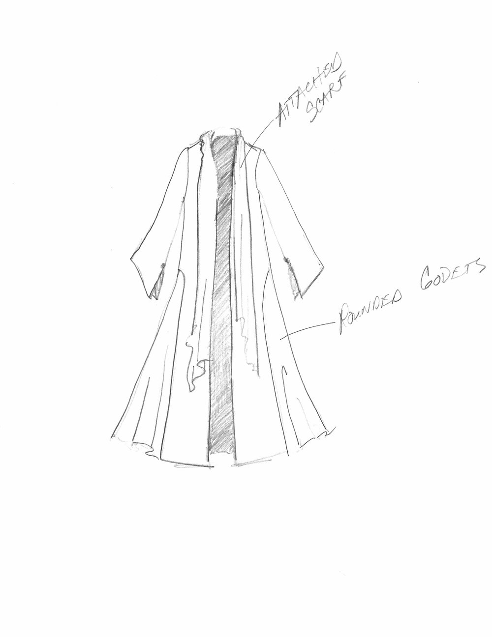 Sketch of her Rose Colored Velvet Duster from Season 3.  It has rounded and flared Godets on either side and deep slits in the underarm that reveal the lining.