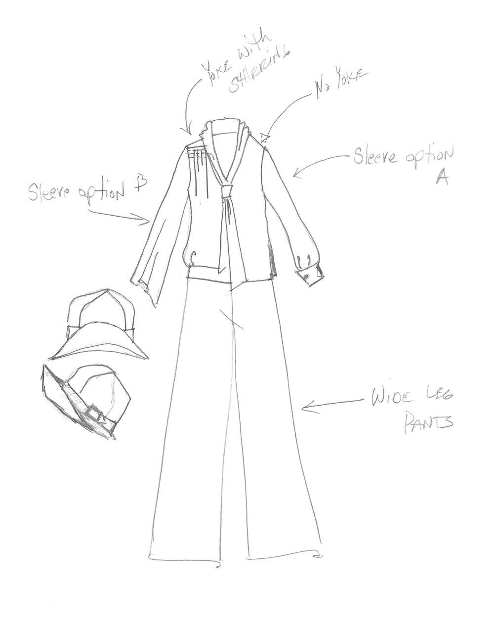 Here is a study of one of Fryne's outfits, were I've seen a basic shape, but did variations on the details (side to side).