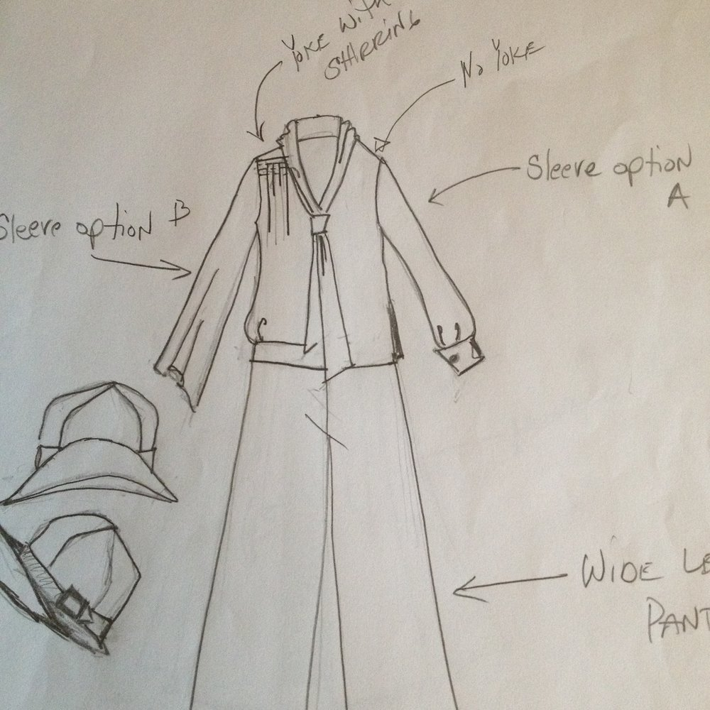 "As you can see, I use my sketch as ""inspiration""  Clearly I did not copy the details exactly, but used different elements, such as the tie, shirring at the shoulder, different bottom opening etc."