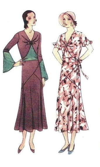 VPLL - 1931 Ladies Dress With Asymmetrical Detailing - Reproduction Sewing Pattern #T6617
