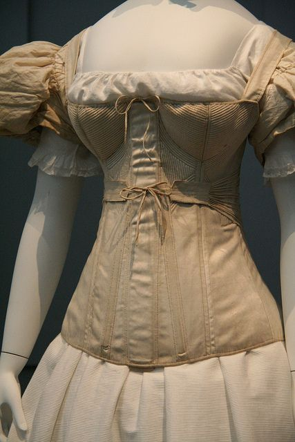 1830-40's corset in the Los Angeles County Museum (M.63.54.7) as seen in page 86-7 in Fashioning Fashion  Image from  Pinterest