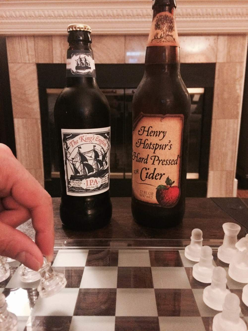 Hubs and I had a fun evening pitting Hotspur against the king, both in the metaphor of chess and the actuality of booze.  The cider was good, but I'd expect something with a bit more punch and fire based on its namesake...