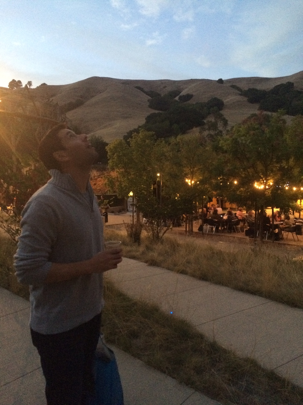 Handsome Hubs, enjoying some wine, sunset, and amazing scenery at Bruns Amphitheater prior to  King Lear