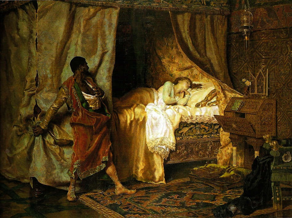 Othello and Desdemona , Antonio Munoz Degrain, circa 1880