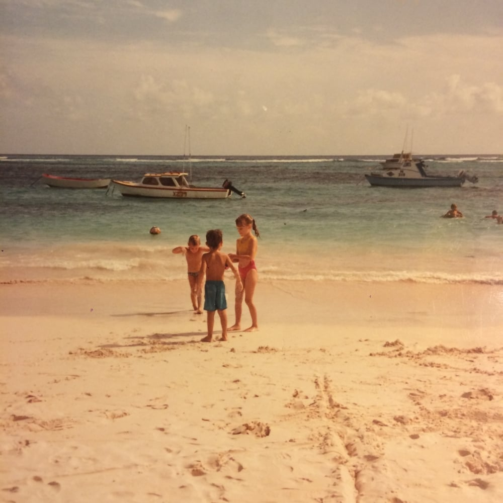 My brother and me on a typical Bajan beach afternoon.
