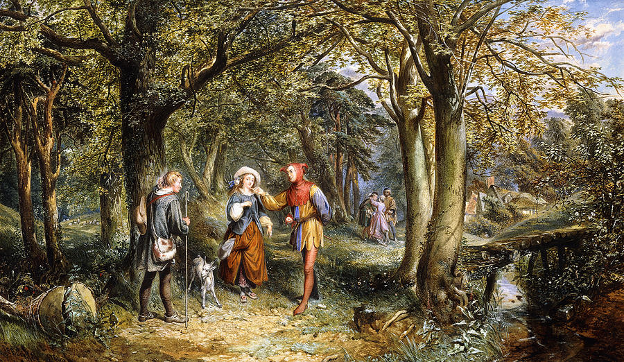 The idyllic forest in  As You Like It,  painted by John Edmund Buckley.  Touchstone's looking pretty at home here.