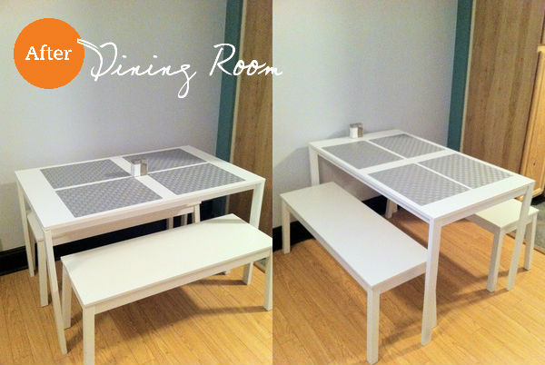 Left: The kitchen table stores along the wall and has two benches that tuck beneath to create an ultra-small footprint. Right: When it's party time the table is easily rotated 90 degrees so both benches can be used.