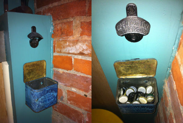 """Just below the wine rack is the item he is most proud of in his home – """"Eric's DIY vintage bottle-opener station!"""""""