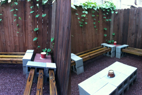 """Brick and cinder block """"tables"""" make the space functional."""