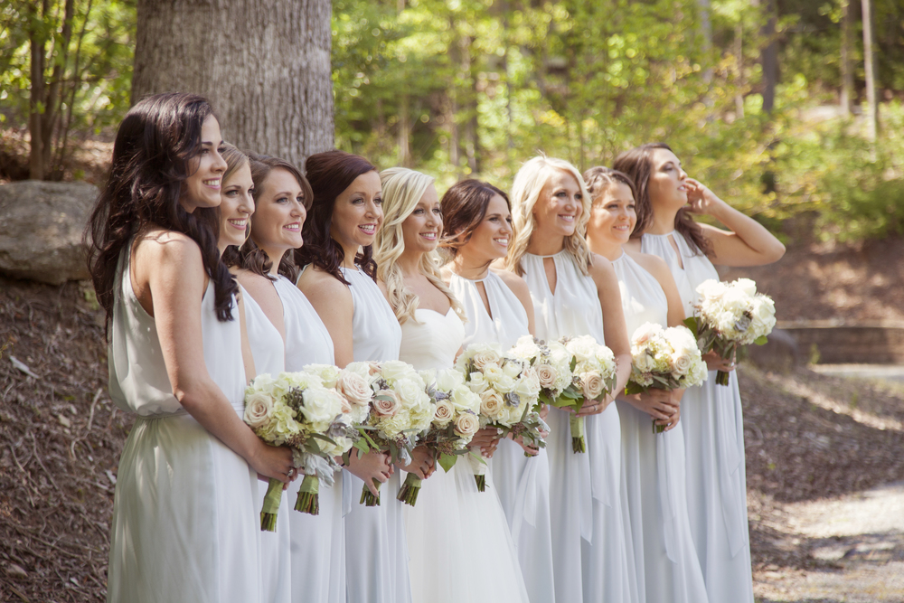 bride and bridesmaids at rocky's lake estate wedding venue woodstock georgia