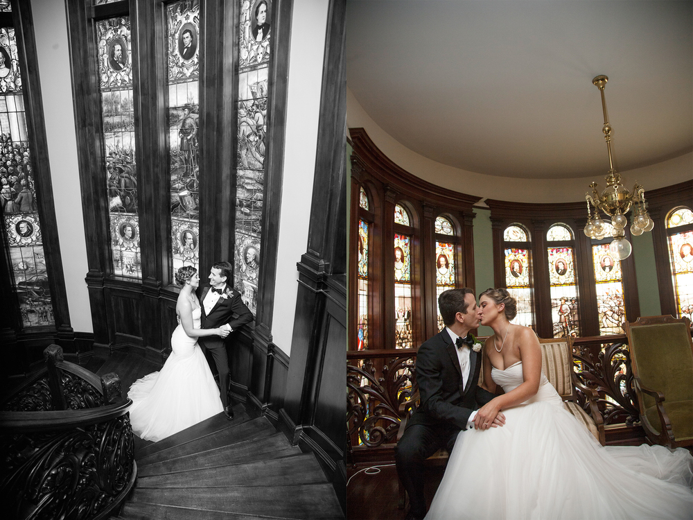 atlanta rhodes hall wedding stairs epic bold couple portraits