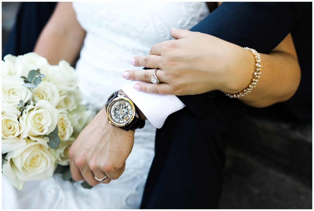 wedding style couple watch suit dress white sharp roses white